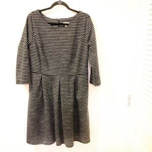 ❤️ Merona Sheath Dress 2XL Black Gray Striped
